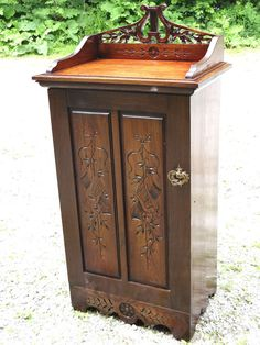 Beautiful antique Victorian wood carved sheet music cabinet