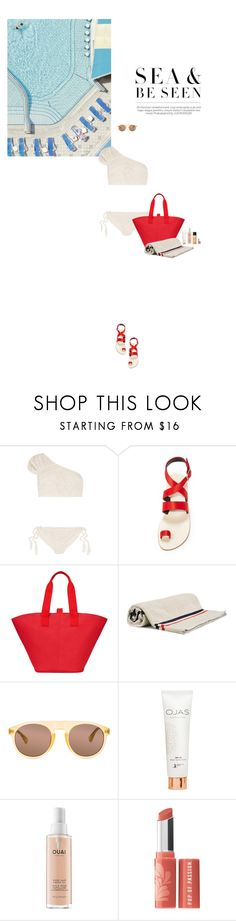 """""""Sea & Be Seen"""" by rubydracox ❤ liked on Polyvore featuring Tabula Rasa, TIBI, Moncler, Dries Van Noten, OJAS, Ouai and Bare Escentuals"""