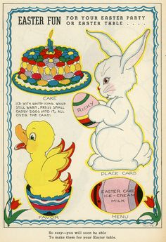 Something for You to Make - Easter Fun! Vintage Easter, Vintage Holiday, Hoppy Easter, Easter Bunny, Easter Parade, Easter Celebration, Easter Table, Easter Posters, Making Ideas