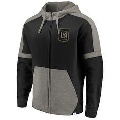 3f7bdb2eb6d Men s LAFC Fanatics Branded Black Heathered Gray Iconic Colorblock Full-Zip  Hoodie