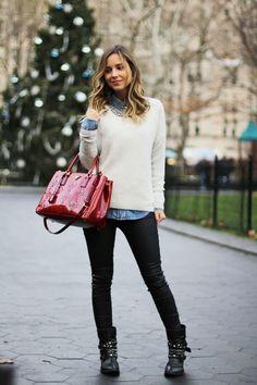 A Legging pode ser sua grande aliada nos looks de inverno! Por serem mais sequinhas e justas, o único cuidado é evitar mostrar o bumbum e a virilha para não deixar o look vulgar! Aposte em looks com tricots, malhas e casacos mais longos e nos pés ficam ótimas com botas de cano curto ou … Autumn Winter Fashion, Look Winter, Winter Wear, Fall Winter Outfits, Winter White, Biker Boots Outfit, Ny Style, Cool Style, Look Casual