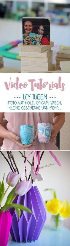 Kreativfieber Video Tutorials: Unsere Sammlung mit DIY Video Anleitungen. Hier findet ihr kleine Geschenkideen - unter anderem Fototransfer auf Holz, Origami Vasen falten und Tassen marmorieren als Schritt für Schritt Anleitung mit Video!
