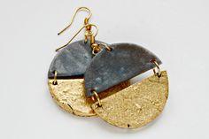 Round dangle earrings, Geometric earrings in blue and gold, Gold earrings, Statement earrings, Grey earrings, Blue earrings, Girlfriend gift by OurPrettyUniverse on Etsy https://www.etsy.com/uk/listing/266218119/round-dangle-earrings-geometric-earrings