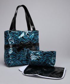 Take a look at this Turquoise & Black Glitter Zebra Diaper Bag by Under the Hooded Towels on #zulily today!