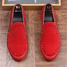Red Spikes Suede Punk Rock Mens Sneakers Flats Shoes Winter Snow Boots, Metal Buckles, Punk Rock, Suede Leather, Loafers Men, Shoe Boots, Studs, Shoes Sneakers, Flats