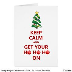 Funny Keep Calm Modern Christmas Tree Card