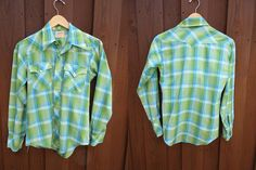 Country Western Green and blue  Plaid Pearl Snap 1970s
