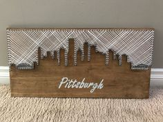 Pittsburgh Skyline string art - - Handmade and made to order! Diy Wall Art, Wood Wall Art, Diy Art, Wall Decor, Nursery Decor, String Art Templates, String Art Tutorials, Nail String Art, String Crafts