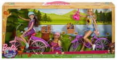 Barbie, Skipper and Chelsea Camping Fun Dolls With Bikes & Accessories Barbie Doll Set, Doll Clothes Barbie, Barbie Toys, Barbie Dream, Barbie And Ken, Barbie Skipper, 8 Year Old Christmas Gifts, Kids Toys For Christmas, Barbie Sisters