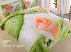 New Arrival Lovely Pink Rose and Green Apple Print 4 Piece Bedding Sets #floralbeddingset #3Dbeddingset  @beddingtons bed & bath inn