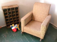We have my Hubbies Vintage Upholstered Rocking Chair!! So Cute!! (: