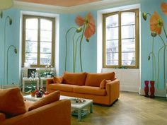 Interior, : Awesome Living Room Decoration With Light Blue Asian Paint Wall Colors Along With Orange Couple Coach And Wood Vinyl Flooring Design