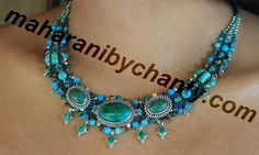 Macrame necklace in shades of green blue