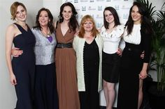 "Laura Carmichael (Lady Edith), Phyllis Logan (Mrs. Hughes), Michelle Dockery (Lady Mary), Lesley Nicol (Mrs. Patmore), Sophie McShera (Daisy) and Jessica Brown Findlay (Lady Sybil) from ""Downton Abbey."""