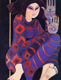 Artist Liala Shawa, Born in Gaza Palestine, in 1940. She works and live in London.