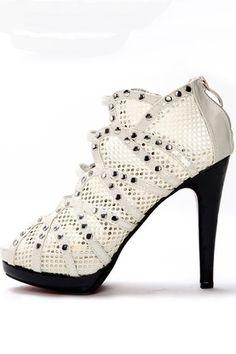 Oscar Fashion Mesh Panel Rivet Detail Peep Toe Heeled Sandals