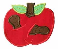 Apple and Worm Applique - 4x4 | back-to-school | Machine Embroidery Designs | SWAKembroidery.com Twin Stitchers