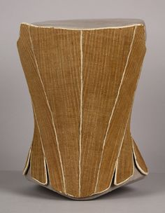 Date Made: 1770  Description:  Corset; homespun light brown linen, fully boned, fabric eyelets, whalebone stays.