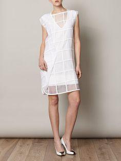 Sportmax 'Relais' dress, perfect white/minimalist dress - grids, sheer, asymmetry, it's got the lot <3