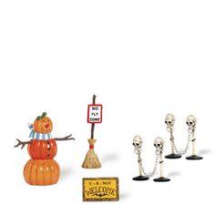 "Department 56  ""Halloween Decorating Set"" (set of 5)  •Introduced December, 2007 •Retired December, 2008"