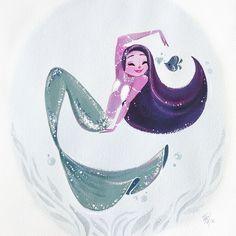 """lianahee: """" Привет! 11x14 дюймов росписью гуашью на акварельной бумаге. Отпечатки в моем интернет-магазине сейчас. :) Я так в последнее время вдохновленный прекрасным Peterpan русалки Мэри Блэр. Те..."""