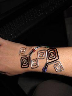 Wire Wrapped Square Design Arm Cuff Bracelet