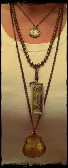 """Get this Look!  Mystic Necklace 16"""" - $40.00 Large Ball Chain Antique Brass 24"""" - $22.00 Believe In Magic – September 2013 Club JK – Sign up TODAY! and get this charm!  By being a Club JK member you'll receive an exclusive charm each month straight to your mailbox as well as 10% off all online orders and member only promos!  All for just $30/month! Lucy Purse Locket - $38.00  https://kellydavis.jewelkade.com/Shop"""