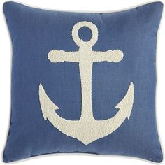 Pier 1 Imports Anchor Embroidered Pillow ($35) ❤ liked on Polyvore featuring home, home decor, throw pillows, anchor home decor, pier 1 imports, ocean home decor, white home decor and white accent pillows