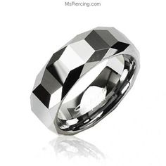 Tungsten Carbide Ring With Trapezoid Prism with Cutting Edges Design #mspiercing #piercings