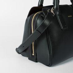 Women's Black Leather Mini Bowling Bag With 'Artist Stripe' Lining
