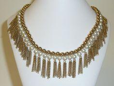 Vintage 1960's Fringe Necklace Faux Pearl Gold by labaublesandbags, $32.00