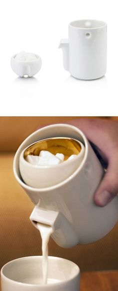 Amazing - the sugar bowl stays in place while pouring the creamer #productdesign #industrialdesign
