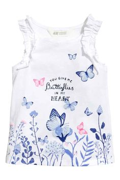 Sleeveless top - White/Butterflies - Kids | H&M GB Butterfly Kids, T Shirt Painting, Frocks For Girls, Kids Prints, Kids Wear, Shirts For Girls, Boy Outfits, Kids Fashion, Clothes