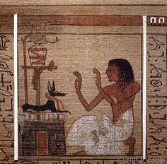 Ägyptische Malerei - Anubis / Totenbuch des Neferrenpet