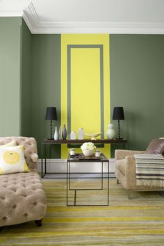 green-wall color-ideas-olive-green-living room-combination-yellow-beige chair by Simple Living Room, Living Room Green, Paint Colors For Living Room, My Living Room, Living Room Interior, Window Treatments Living Room, Living Room Windows, Green Wall Color, Dark Green Walls
