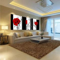 Beautiful Vivid 3 piece Floral Flower - Multiple floral and size choices - ASH Wall Decor - Wall Art Canvas Panel Print Painting Big Living Rooms, Home Living Room, Living Room Designs, Living Room Decor, Kitchen Living, Small Living, Dining Room, Living Room Canvas, Living Room Paint
