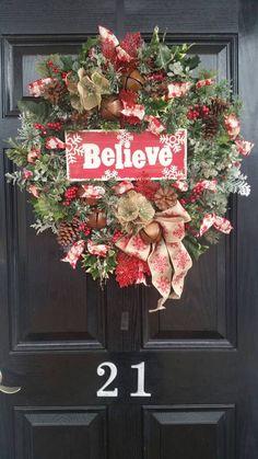 Large Evergreen Christmas Wreath Rustic by DesignTwentyNineSC