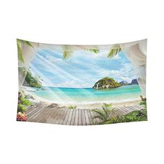 InterestPrint Ocean Island Paradise Beach with the Palm Tree Wall Hanging Tapestry - Beachfront Decor