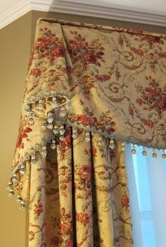 traditional bell valance with bobble trim. custom draperies