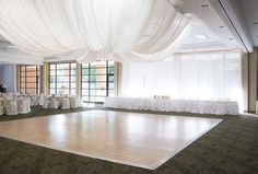 This image goes to show that great lighting and some draping can really transform a great venue into a uniquely fabulous venue for your wedding and reception! Click the image and contact the Great Hall today about their fantastic wedding packages! Photo credit: Belisario Photography