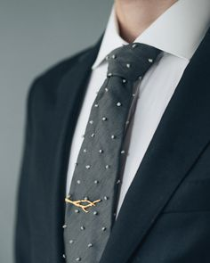Branch Tie Bar 3D Printed Stainless Steel by CollectedEdition
