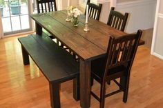 Love this kitchen farmhouse style table and bench