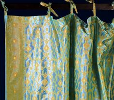 [corrected overexposure]  Turquoise Indian Sari Fabric Curtains and Panels http://www.monsooncraft.com/curtains/sari-curtains.html