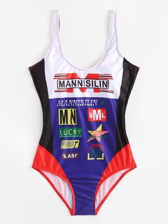 Colorblock Mixed Print Swimsuit