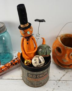 Halloween Folk Art // Pumpkin // Vintage Style by CatandFiddlefolk
