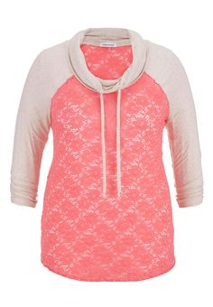 cowl neck plus size lace baseball tee - maurices.com