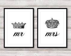 Set of two Mr and Mrs black and white crown wall prints. The perfect his and hers set featuring king and queen crowns! Great as a wedding or