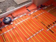 A close up image of Allbrite's underfloor heating mats being installed in an orangery extension. Underfloor Heating Mats, Electric Underfloor Heating, Orangery Extension, Types Of Flooring, Home Appliances, Image, House Appliances, Appliances