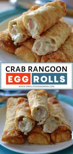 CRAB RANGOON EGG ROLLS The ultimate holiday crowd pleasing appetizer! Crab Rangoon Egg Rolls are filled with fresh crab meat, cream cheese and a perfect blend of spices. Make this on your Christmas and New Year's Eve parties! Seafood Appetizers, Appetizers For Party, Seafood Recipes, Appetizer Recipes, Cooking Recipes, Seafood Salad, Crab Eggs, Egg Roll Recipes, Easy Recipes
