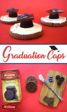 """Congrats, grads! Celebrating accomplishments never tasted so good! A taste of success is best filled with chocolate ;). You'll need: Archway® Dutch Cocoa cookies, chocolate bar, red candy, red sprinkles, vanilla frosting, peanut butter cups.  Frost Archway® Dutch Cocoa cookie. Place peanut butter cup upside down in center. Using frosting, place chocolate square to form """"graduation cap."""" Next, frost top of hat with red sprinkles and red candy to form """"tassle."""" Enjoy!"""